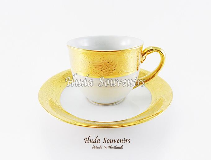 ของที่ระลึก แก้วกาแฟเบญจรงค์ ทรงกลม ลายทอง ลายเนื้อนูนเคลือบผิวเงา สินค้าพร้อมส่ง (ราคาไม่รวมกล่อง)