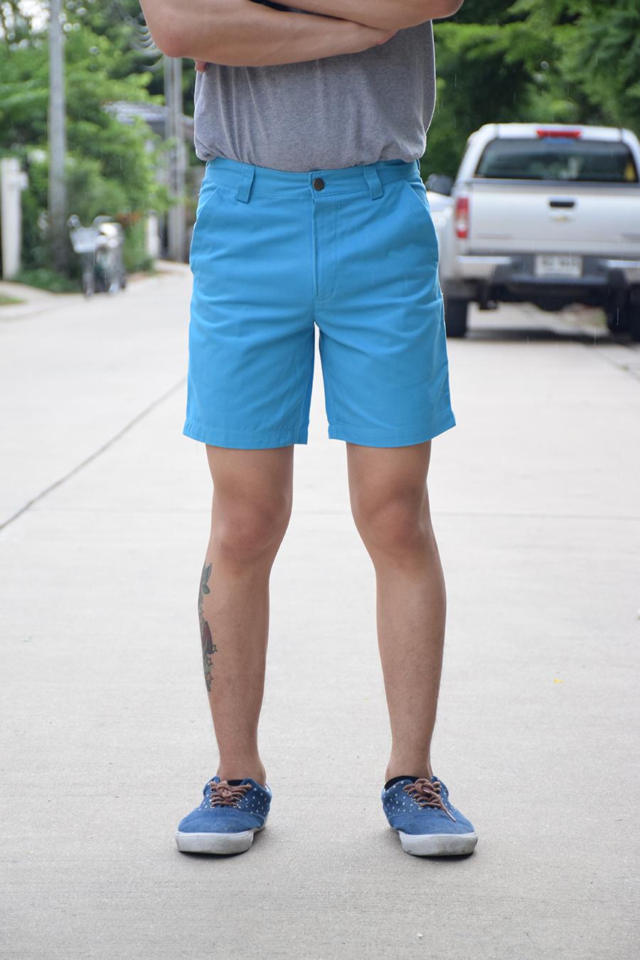 กางเกงขาสั้น สีฟ้า