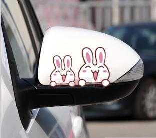 สติ๊กเกอร์ติดกระจกมองข้างรถ Happy rabbit (1Pack/2ชิ้น) ขนาด 9*13Cm