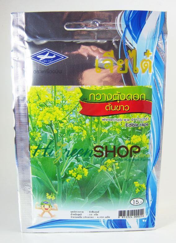 กวางตุ้งดอกต้นเขียว (Edible Rape) เจียใต๋
