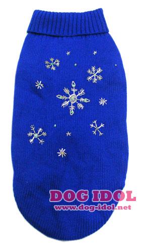 **ไซส์ XL (รอบอก 56-72ซม.) พร้อมส่ง** เสื้อถักสีน้ำเงินปักลายเกร็ดหิมะ ยาวถึงก้น