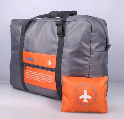(สีส้ม) กระเป๋าเดินทางพับเก็บได้ สามารถพ่วงกับกระเป๋าเดินทางรถเข็นได้ ขนาด 45 x 20 x 34 CM ความจุ 20 ลิตร