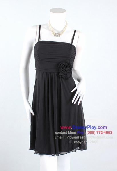 anb007 - ชุดออกงานสีดำ สายเดี่ยวผ้าเนตเนื้อนิ่มยืด สีดำ จับย่นช่วงอก แต่งดอกไม้ใต้อก สวยหวานๆดูดีค่ะ