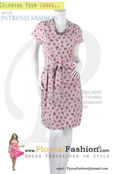 hd1829 - ชุดทำงานสไตล์เดรส คอเหลี่ยม เนื้อผ้าเกรด AAAA สีชมพูอมม่วงพิมพ์ลายดอกสีชมพู ผ้าผูกเอวแยกชิ้น ซับในช่วงกระโปรง สวยๆใส่แล้วดูหรูค่ะ