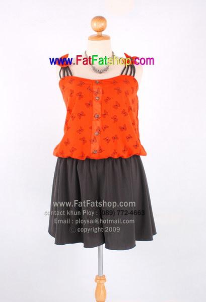 ff001-48-ชุดแซกกางเกงไซส์ใหญ่ ผ้าไหมสปัน ตัวเสื้อผ้าสีส้มพิมพ์ลายแต่งกระดุมหลอกด้านหน้า อก 48 นิ้ว