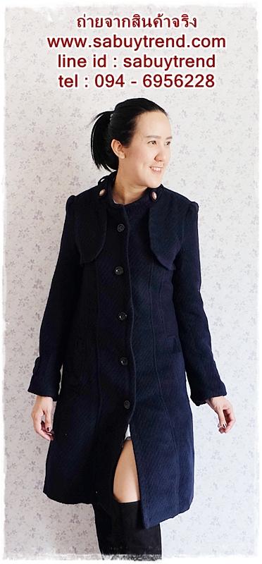 ((ขายแล้วครับ))((คุณCottonจองครับ))ca-2719 เสื้อโค้ทกันหนาวผ้าวูลสีกรมท่า รอบอก36