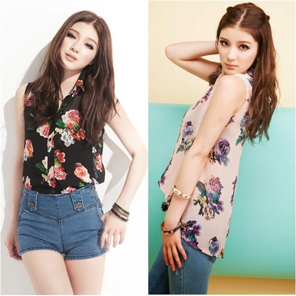 เสื้อ ผ้าชีฟองพิมพ์ลายดอกไม้ ชายเสื้อด้านหน้าสั้น ด้านหลังยาว สีดำ สีชมพู