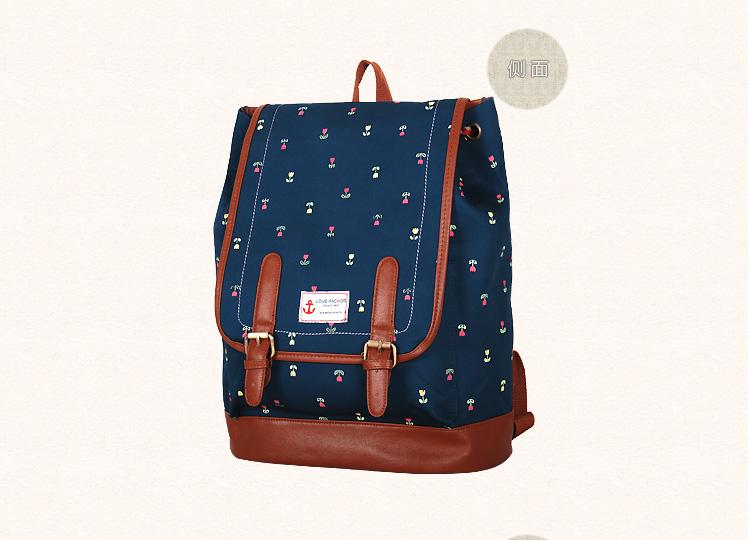 """กระเป๋าเป้สะพาย ยี่ห้อ Superlover สไตส์ญี่ปุ่น มีช่องใส่ Notebook14"""" สีน้ำเงินดอกไม้ (Pre-Order)"""