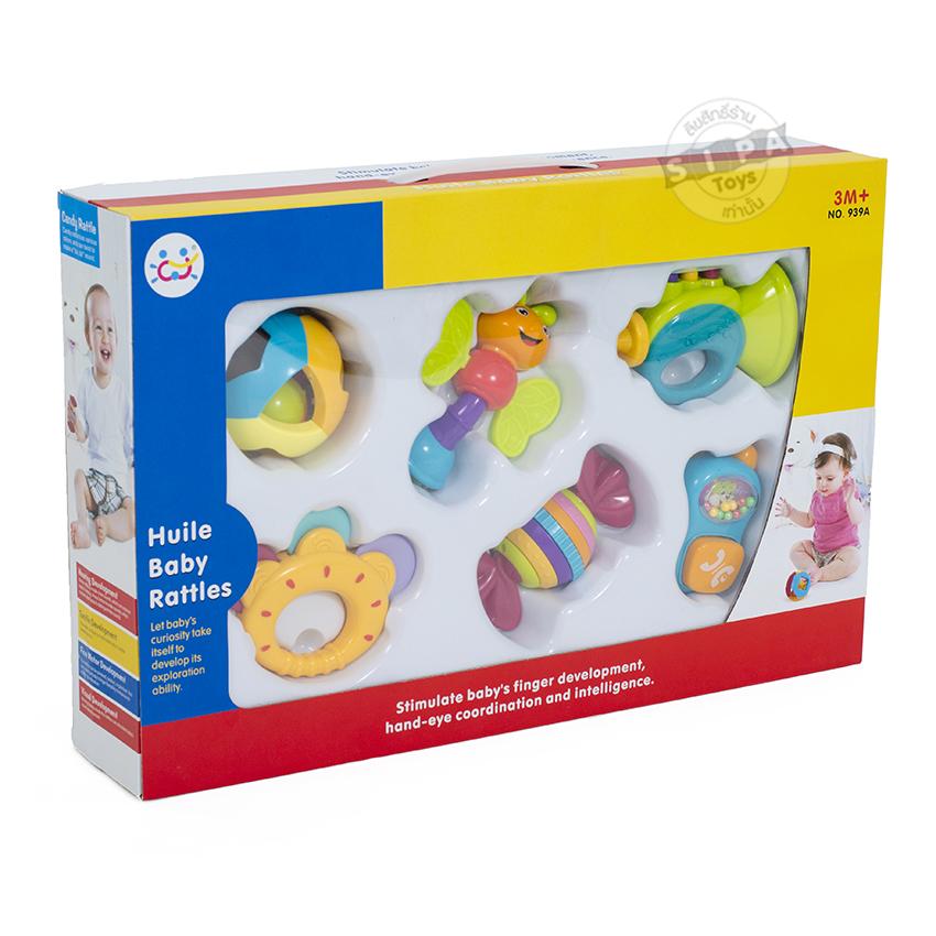ของเล่นเด็ก เขย่ามือเซ็ต 6 ชิ้น Huile Baby Rattles