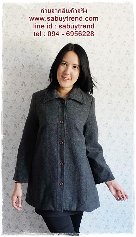 ((ขายแล้วครับ))((คุณสุพรรณีจองครับ))ca-2534 เสื้อโค้ทกันหนาวผ้าวูลสีดำ รอบอก40
