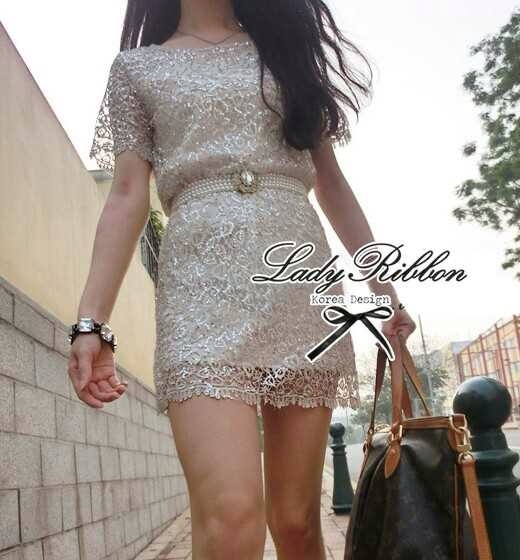 Lady Ribbon Luxury Glitter Lace Dress เดรสผ้าลูกไม้ผสมกลิตเตอร์วิ๊งๆ